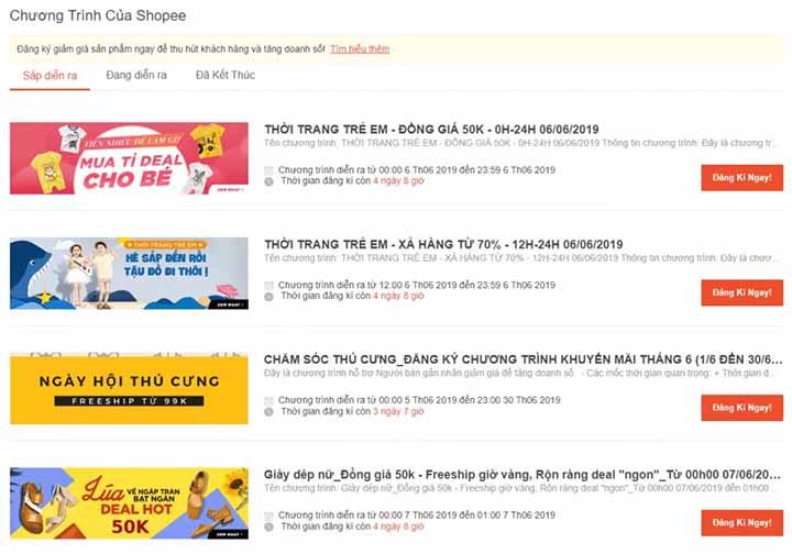 Lựa chọn ngành hàng tham gia shopee
